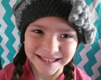 crocheted Dark gray and light gray slouch beanie with a bow