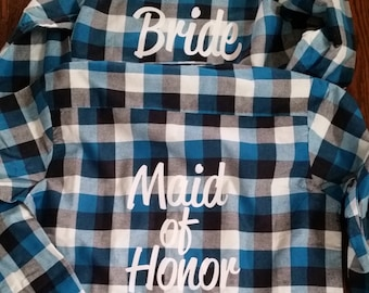FLANNEL SALE! Buy now and save! Bride and Bride Squad Bridal Party Flannels Bridesmaid Flannels Wedding Flannels  Bachelorette Party Shirts
