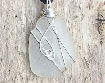 Wire wrapped, seaglass pendant