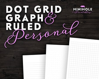 Personal Planner Inserts Dot Grid Paper Graph Paper Planner Refill Personal Filofax Personal Insert Filofax Insert Filofax Printable