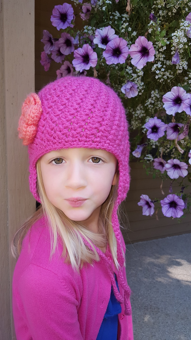 Discounted Last Minute Gift Bumpy Earflap Curly Tie Beanie Hat With Flower Accent READY TO SHIP Crochet Newborn, 3-6 Mos, 1-2 Yrs, Child