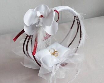 original ring pillow white and Burgundy