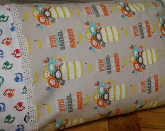 More fun than a barrel full of monkeys!  How fun is this?  Travel sized monkey pillowcase.