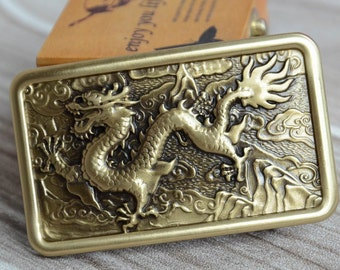 Mens Belt Buckle,Solid Brass Buckle,Dragon, Gift For Him