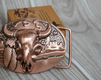 Mens Belt Buckle,Solid Copper Made,Tribal Bull