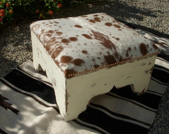 Made To Order**Cowgirl Chic Genuine Cowhide Footstool With Storage