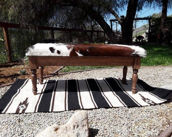 Made To Order** Custom Wood And Cowhide Bench