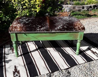 Made To Order** Custom Cowhide Storage Bench Seat