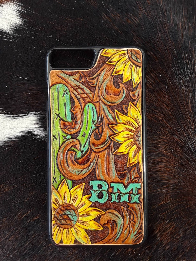 the best attitude 8450b dae1c Custom Tooled Leather Phone Case with Cactus and Sunflowers