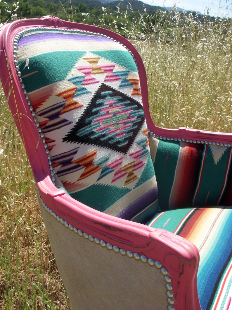 Made To Order Pink Turquoise Cowhide And Serape Chair