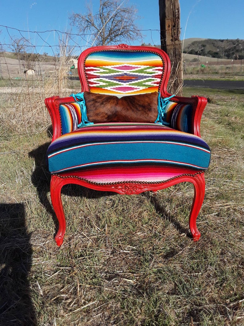 Made To Order Custom Red And Turquoise Serape And Cowhide Arm Chair