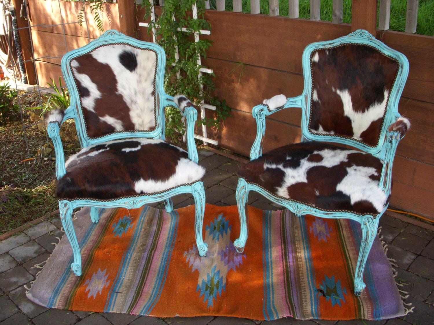 Made To Order Cowgirl Chic Turquoise And Cowhide Victorian