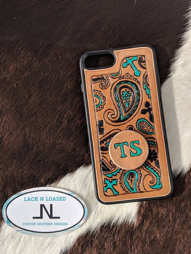 Custom Tooled Leather Phone Case with Paisley and Crosses