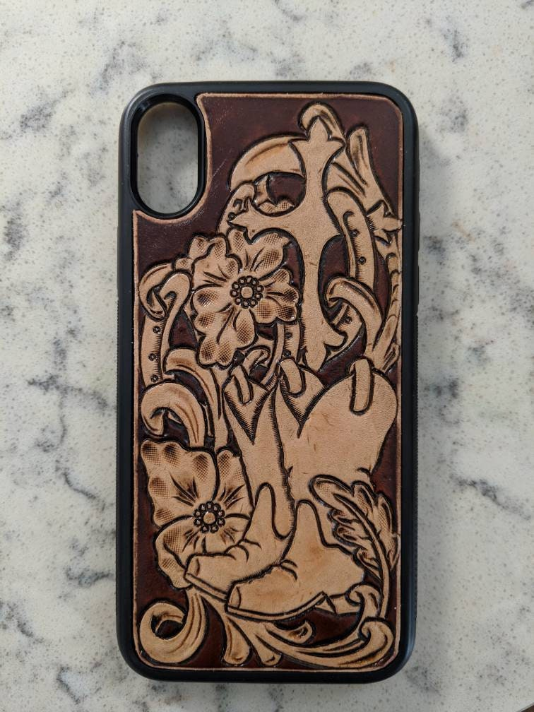 on sale c4d31 0fef3 Custom Tooled Leather Phone Case with Boots, Horseshoes and Cross