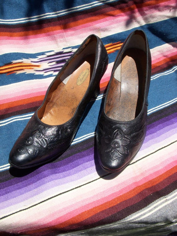 Vintage Black Tooled Leather Heels From Mexico Size 7 Etsy