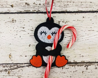 Penguin Candy Cane Holder Ornament