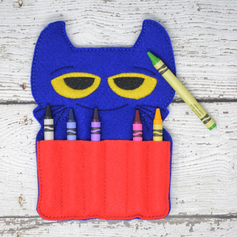 Toddler Arts and Crafts Travel Case Easter Gift Back To School Pete Cat Crayon Holder