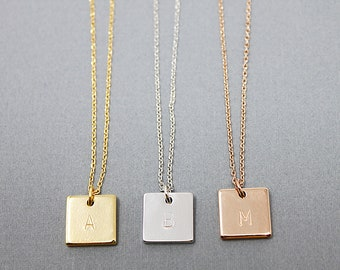 Engraved Square Necklace Initial Necklace Letters Necklace