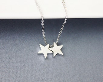 Two Star Pendant Necklace. Delicate and Dainty Necklace. Simple and Modern Necklace.