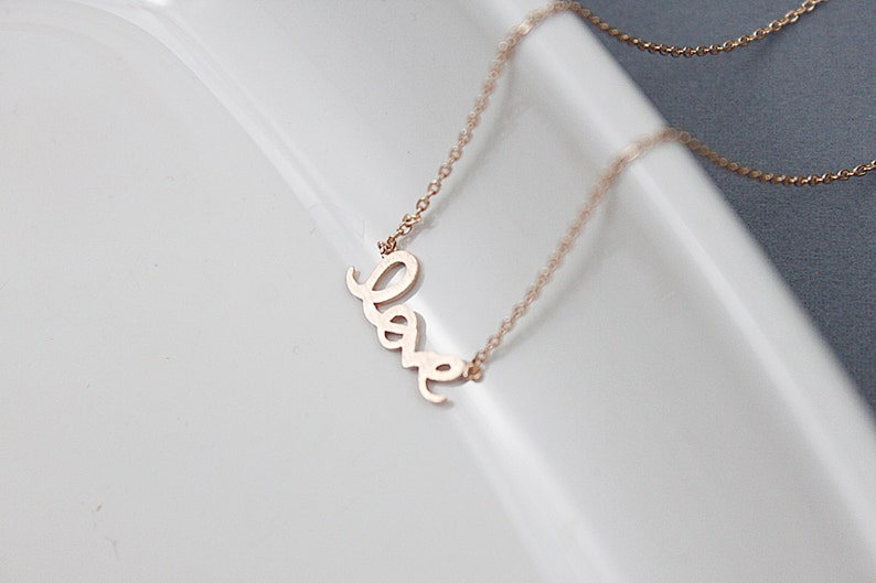 Love Charm Necklace Bridesmaid Gift Necklace. Tiny Love Necklace Simple Love Pendant Necklace