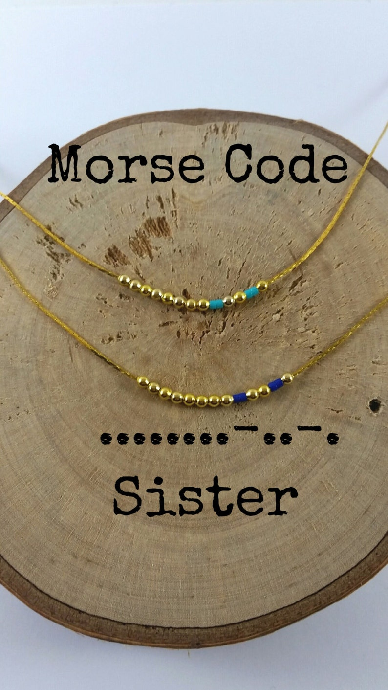 95e29ee14fc7 SISTER collares Mensaje Secreto Código Morse Minimalista