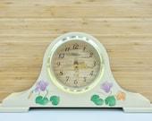 Floral Mantle Clock - Vintage Mid Century Modern - Papillon Japan - Boho Eclectic Home Decor