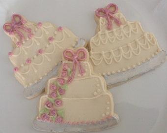 Wedding Cake Cookies, Anniversary Cookies - 1 dozen sugar cookies