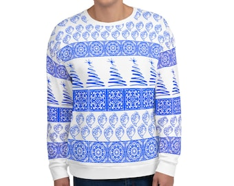 Heart of Viana Tiles Christmas Blue Sweater (Unisex)