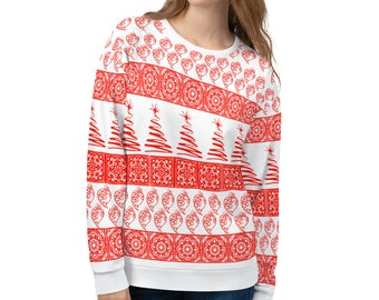 Heart of Viana Tiles Christmas Red Sweater (Unisex)