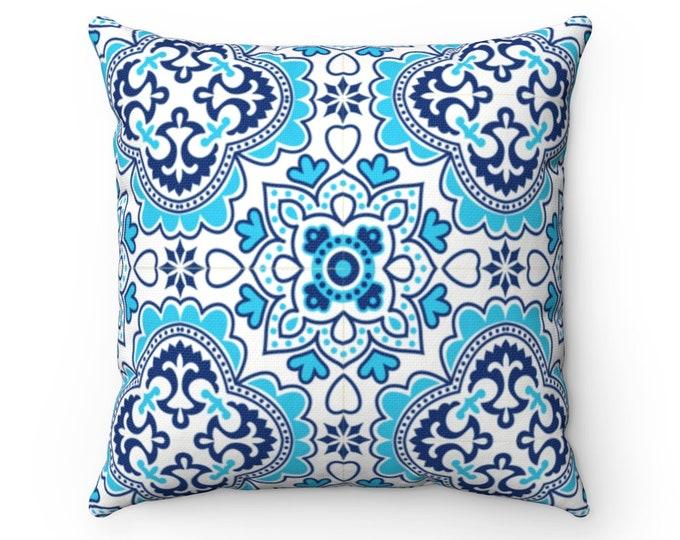 Azulejo Spun Polyester Square Pillow