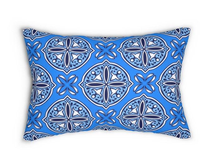 Azulejo Spun Polyester Lumbar Pillow
