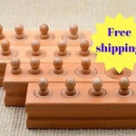 Montessori Knobbed Cylinder blocks / Preschool learning puzzle / Montessori sensorial toy /  educational wooden puzzle / gift for children