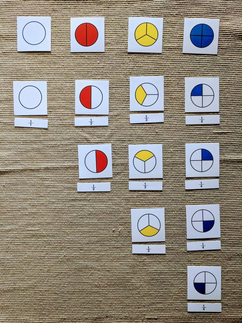 Montessori learning fraction math toy with pictures and symbol cards