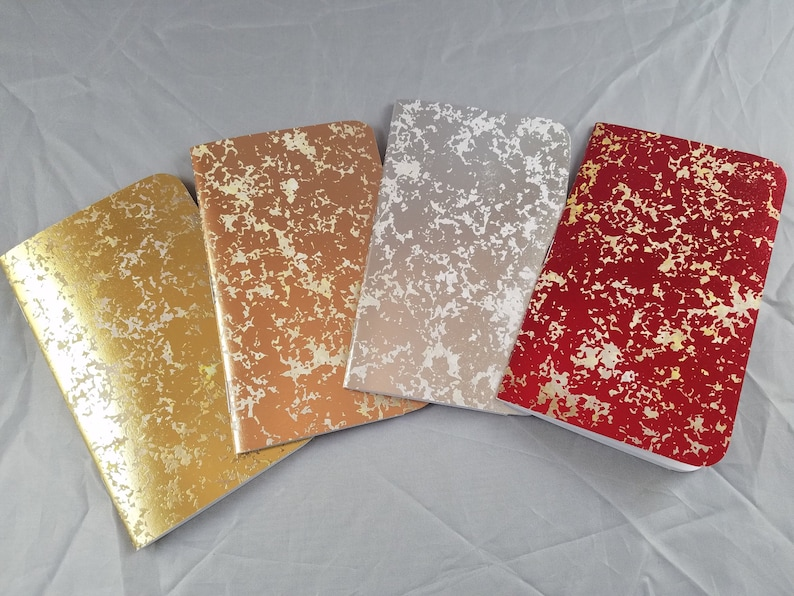3x5 32 Page Handmade Blank Notebook  Foil Cover  image 0