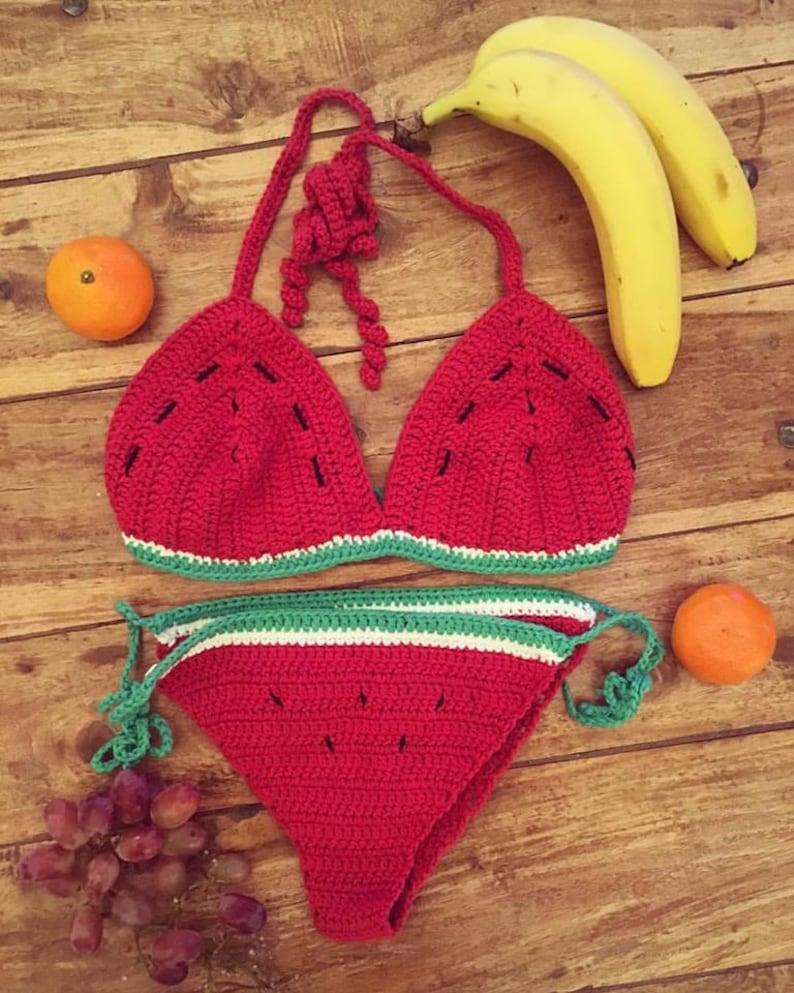 a12f9413f Sandía bikiní, bikiní del ganchillo de sandía, trajes de baño para mujer,  crochet bikini, tapa del ganchillo recortado, gitana, más Hippie, ...