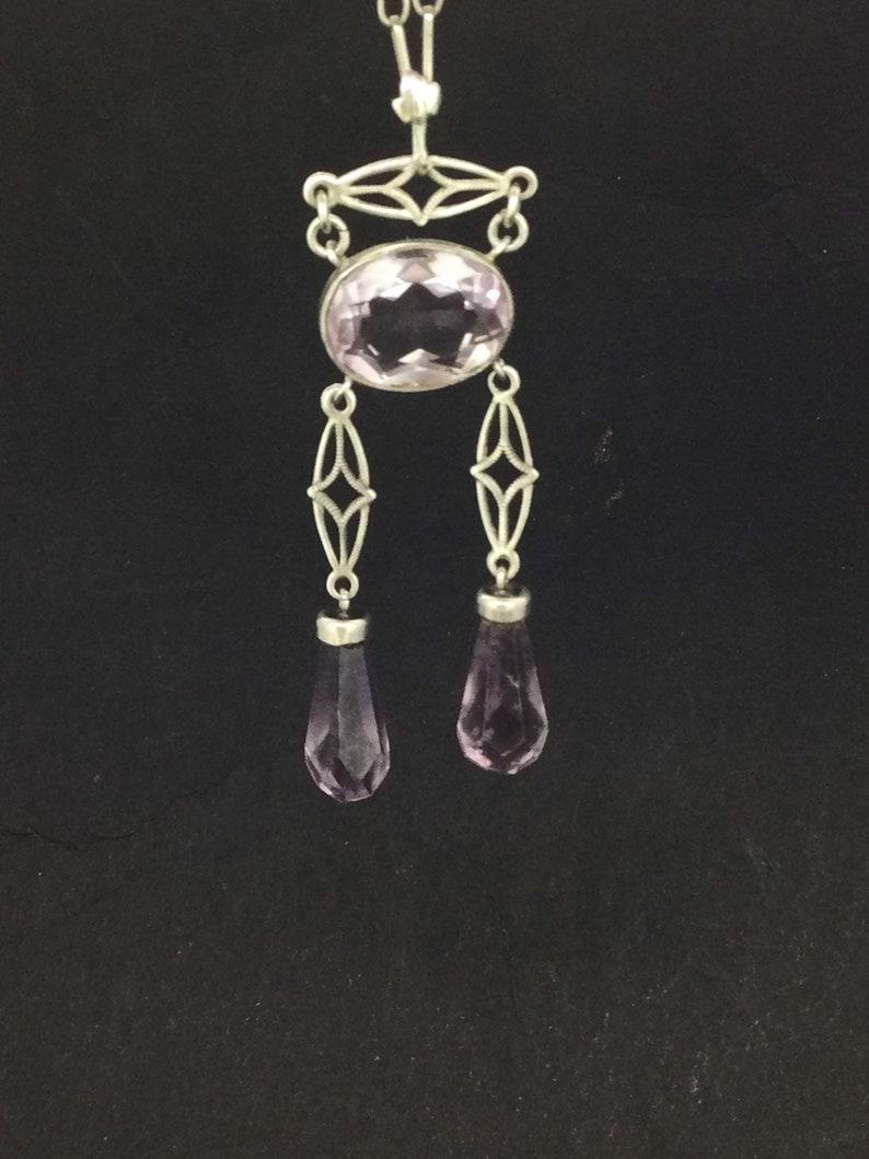 Art Nouveau Amethyst Silver Sterling Hallmarked Necklace Divine