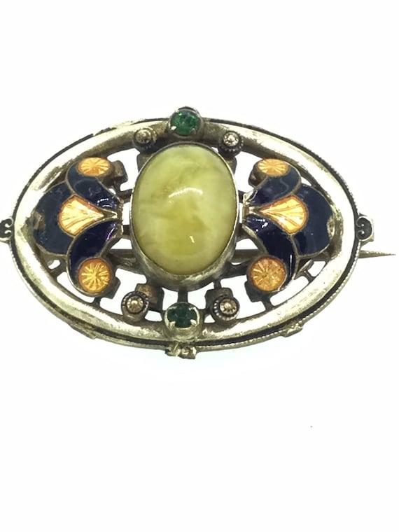 Art Nouveau Enamel Stone Small Brooch Pin