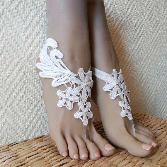 c6fcf6c3c808 Lace barefoot sandals Destination Wedding Beach wedding