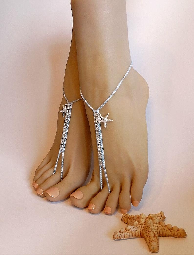 9d575a37aecd Starfish Barefoot sandals Beach wedding Bridal Footless