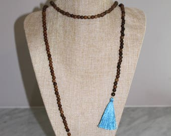 Lariat Beaded Necklace with Blue Tassels