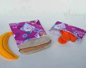 Princess, Lunch set, reusable sandwich bag, reusable snack bag, ecofriendly lunch set