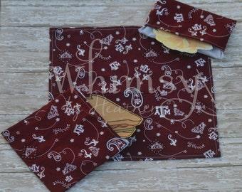 Aggie, Texas a&m,  Lunch set, reusable sandwich bag, reusable snack bag, cloth napkin, ecofriendly lunch set