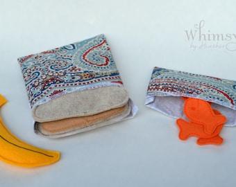 Paisley, Lunch set, reusable sandwich bag, reusable snack bag, ecofriendly lunch set