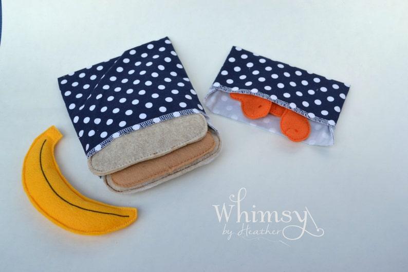 Lunch set Navy Polka Dot sandwich bags reusable sandwich bag ecofriendly lunch set reusable snack bag
