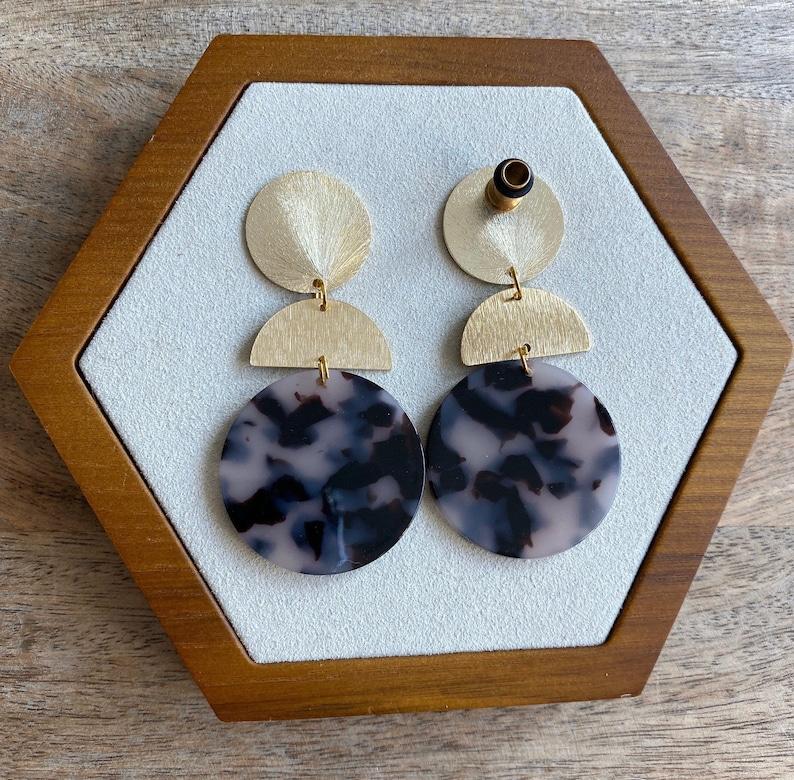 14g to 1116 - Gold Tortoiseshell Geometric Dangle Drop Earrings Hider Plugs 18mm