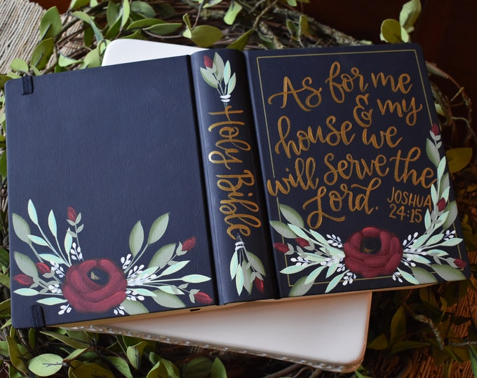 Hand Painted Bibles // Wedding Guestbook Alternative // Joshua 24:15 // as for me and my house // Personalized Keepsake