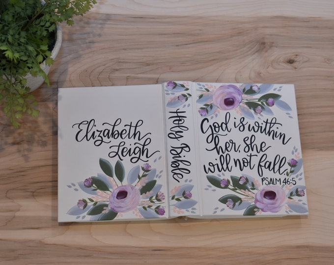 Hand Painted Bible // Baby's First Bible // Baptism Bible // Personalized Keepsake