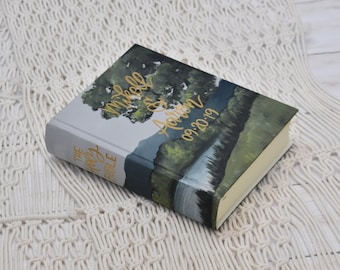 Hand Painted Bible // Landscape Mountain Bible // Lake View // Personalized Keepsake