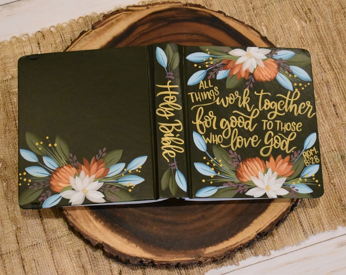 Hand Painted Bible // Specialized Floral Design // Holy Bible // Personalized Keepsake
