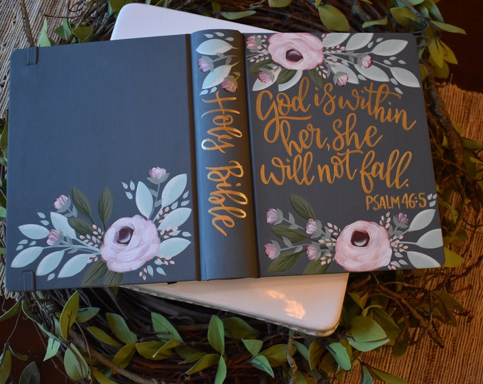 Hand Painted Bible // God is within her // Keepsake Bible